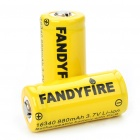 Protected 16340 Rechargeable 3.7V 880mAh Li-ion Batteries - Yellow (Pair)