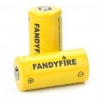 16340 Rechargeable 3.7V 880mAh Li-ion Batteries - Yellow (Pair)