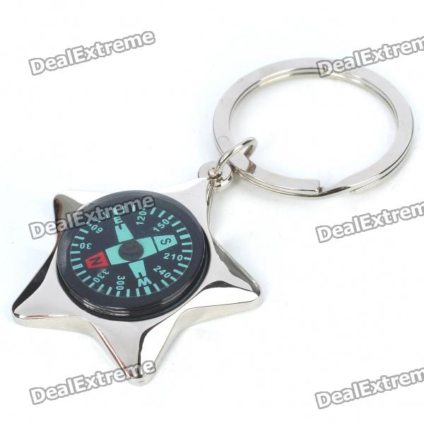 Alloy Star Shaped Compass Keychain