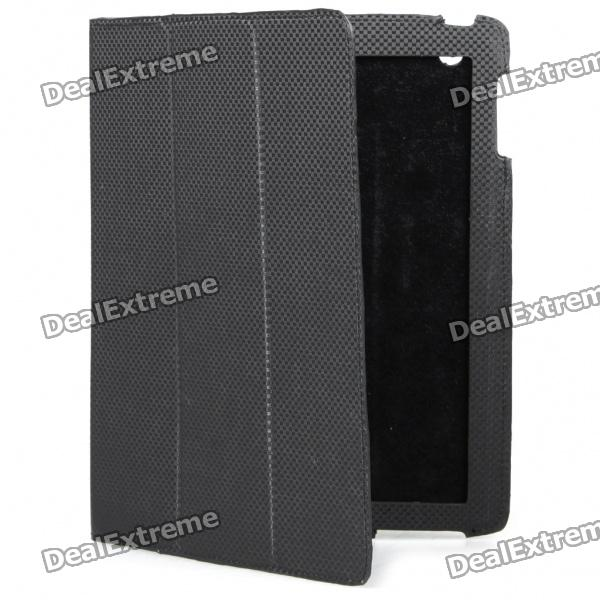 цена Ultrathin Protective Woven Pattern Carbon Fiber Leather Case for Ipad 2 - Black