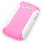 Protective PC + PVC Back Case for BlackBerry 9700 - Pink + White