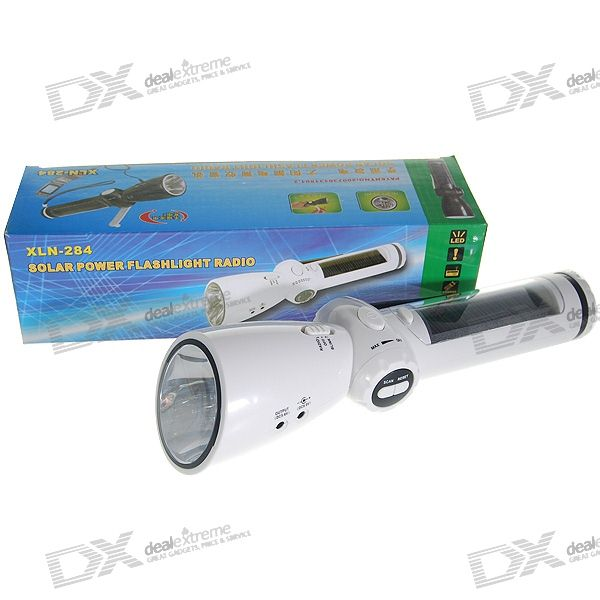 Dual Source Solar Powered + Hand-Crank Survival Flashlight/Cell Charger/AM/FM Radio