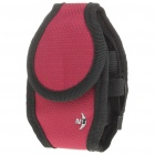 Protective Nylon Holster/Pouch with Clip for Cell Phone - Red + Black (Size S)
