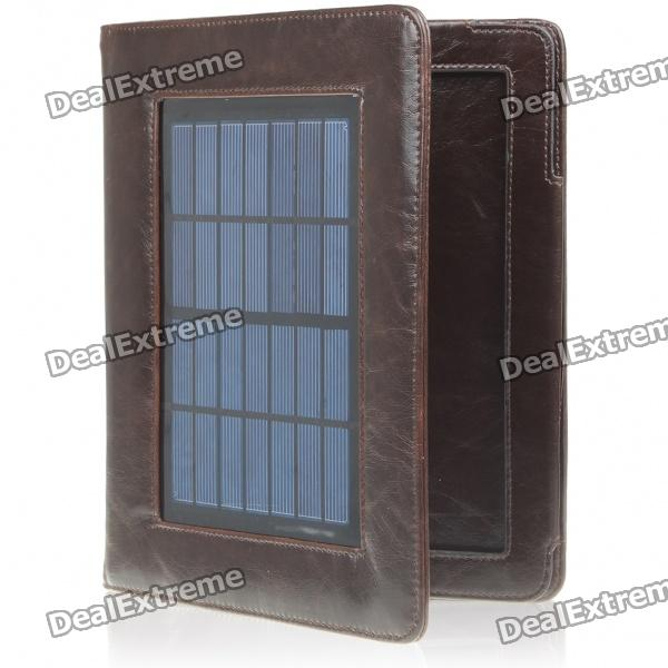Protective Leather Case with Solar Powered Rechargeable 4400mAh Battery for iPad - Brown