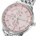 Waterproof Stainless Steel Quartz Wrist Watch - Pink + Silver (30mm Diameter/ 1x LR626)