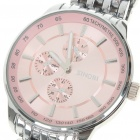 Waterproof Stainless Steel Quartz Wrist Watch - Pink + Silver (40mm Diameter/ 1x LR626)