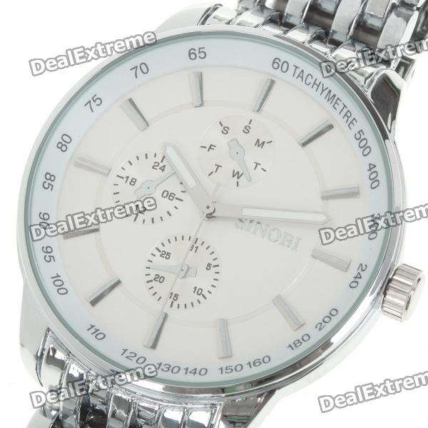 Waterproof Stainless Steel Wrist Watch - White + Silver (40mm Diameter/ 1 x LR626)