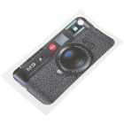 Unique M9 Camera Style Protective Back Case Skin Sticker for iPhone 4 - Black