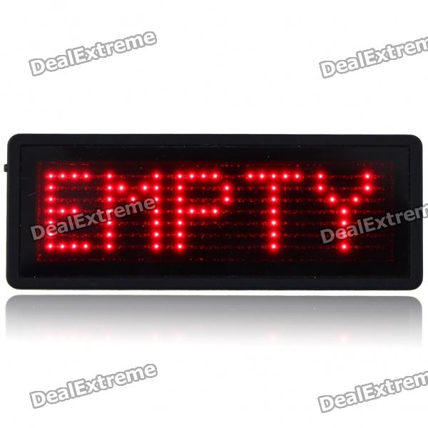 TSR Mini Programmable Scrolling LED Name/Message/Advertising Tag Badge - Red Light (1 x CR2032)