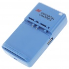 Universal Cell Phone Lithium Battery Charger w/ USB Power Port - Blue (EU Plug/100~240V)