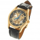 Fashion PU Leather Band Stainless Steel Mechanical Wrist Watch - Golden + Black