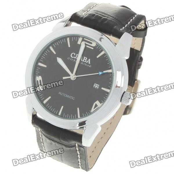 Fashion PU Leather Band Stainless Steel Mechanical Wrist Watch with Date Display - Silver + Black