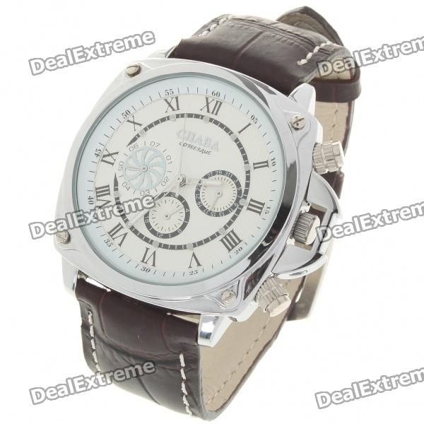 Fashion PU Leather Band Stainless Steel Mechanical Wrist Watch with Date Display - White + Brown forsining a165 men tourbillon automatic mechanical watch leather strap date week month year display