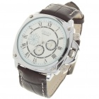 Fashion PU Leather Band Stainless Steel Mechanical Wrist Watch with Date Display - White + Brown