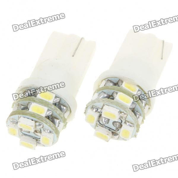T10 1W 6000K 60-Lumen 12x3528 SMD LED Car White Light Bulbs (Pair/DC 12V) 2w 6000k 150 lumen 10x5050 smd led white light daytime running lamps for car pair dc 12v