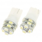 T10 1W 6000K 60-Lumen 12x3528 SMD LED Car White Light Bulbs (Pair/DC 12V)