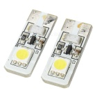 T10 1W 6000K 20-Lumen 2x-5050 SMD LED Car White Light Bulbs (Pair/DC 12V)