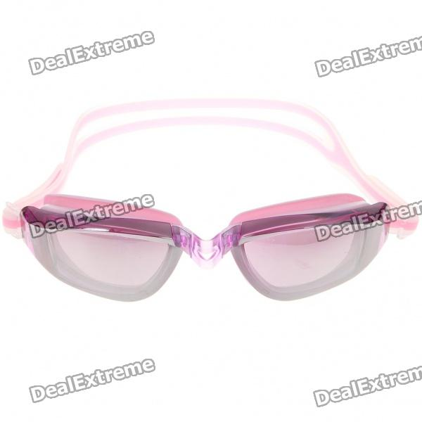 Stylish PC Lens Swimming Goggle Glasses w/ Carrying Box - Pink