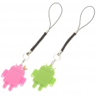 Cute Android Robot Style TF Card Readers with Cell Phone Straps (Pair)