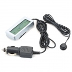 "2.5"" LCD Car Cigarette Lighter Powered Digital Inside and Outside Thermometer - Silver"