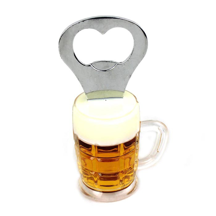 Unique Beer Cup Style Bottle Opener w/ Magnet