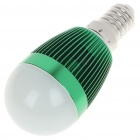 E14 3W 6500K 260-Lumen White LED Light Bulb - Green (85 ~ 245V)