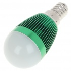 E14 3500K 3W 260-Lumen Warm White LED Light Bulb - Green (85~245V)