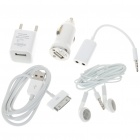5-in-1 Charger and Earphone Accessories Kit for iPhone 3G/3GS/4 - White