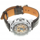 Stylish PU Leather Band Stainless Steel Mechanical Wrist Watch - Silver + Black