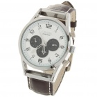 Stylish PU Leather Band Stainless Steel Mechanical Wrist Watch - White + Brown