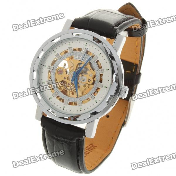 Stylish PU Leather Band Stainless Steel Mechanical Wrist Watch - Silver + Black куртка revolution leif 7246 orange xl