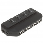USB 2.0 High Speed 4-Port HUB w/ Independent Switch - Black