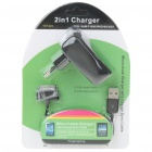 Double USB Power Adapter/Charger + USB Cable for Samsung P1000/iPad/iPhone 3GS/4 - Black (100~240V)