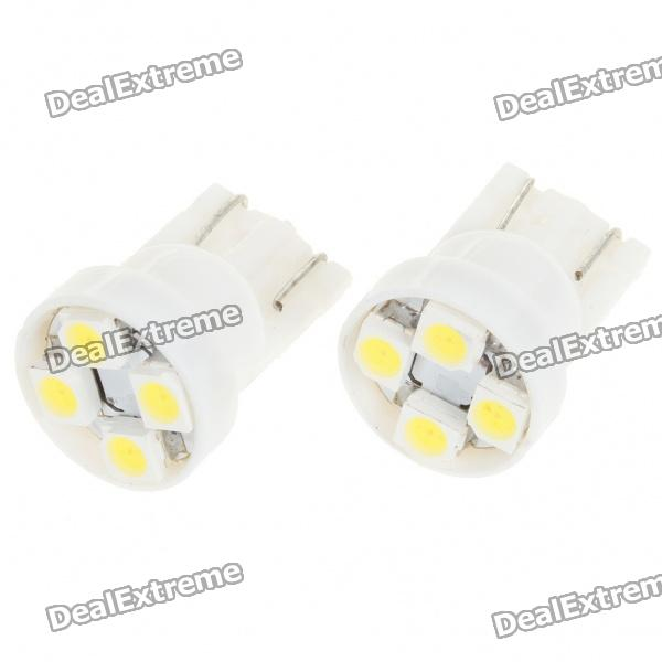T10 0.25W 6500K 16-Lumen 4x3528 SMD LED Car White Light Bulbs (Pair / 12V) carprie super drop ship new 2 x canbus error free white t10 5 smd 5050 w5w 194 16 interior led bulbs mar713
