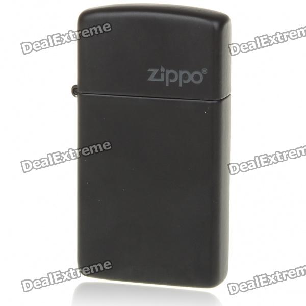 Genuine Slim Zippo Copper Fuel Fluid Lighter - Black