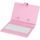 "80-Key QWERTY Wired Keyboard w/ Protective Leather Case for 7~8"" Tablet PC - Pink"