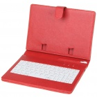 "80-Key QWERTY Wired Keyboard w/ Protective Leather Case for 7~8"" Tablet PC - Red"