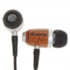 KANEN n-Ear Earphone w/ Microphone + Volume Control + Clip - Black (3.5mm Jack / 120cm-Cable)
