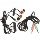 KANEN In-Ear Earphone w/ Microphone + Volume Control + Clip - Black (3.5mm Jack / 120cm-Cable)
