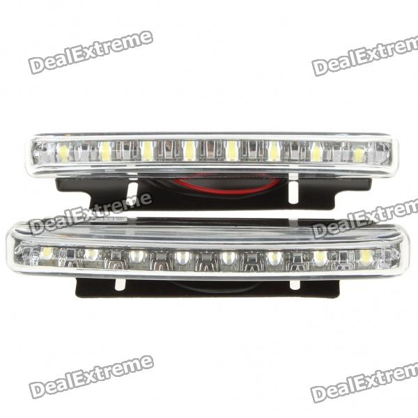 0.64W 6500K 86-Lumen 8-LED White Light Daytime Running Lamps for Car (Pair/DC 12V)