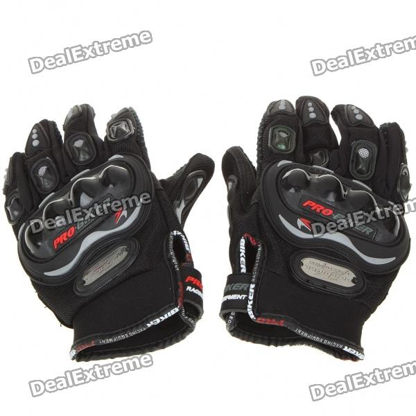 Stylish Full-Finger Racing Gloves - Black (L-Size/Pair)