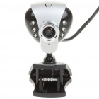 USB 2.0 1.3MP Driverless Webcam w/ Microphone and 6-LED Illuminated - Silver