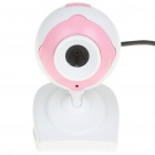 USB 1.3MP Driverless Webcam with Microphone & Clip for PC/Laptop - White + Pink