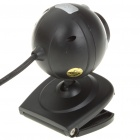 USB 1.3MP Driverless Webcam with Microphone & Clip for PC/Laptop - Black + Silver