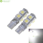 T10 1.65W 9x5050 SMD LED 6500K 110-Lumen White Light Bulbs for BMW (Pair/DC 12V)