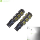 T10 2.5W 13x5050 SMD LED 6500K 160-Lumen White Light Bulbs for BMW (Pair/DC 12V)