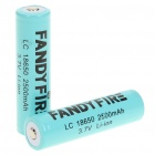 "Fandyfire Protected LC 18650 Rechargeable 3.7V ""2500mAh"" Li-Ion Batteries - Blue (Pair)"