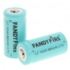 "Fandyfire LC 16340 Rechargeable 3.7V ""880mAh"" Li-Ion Batteries - Blue (Pair)"