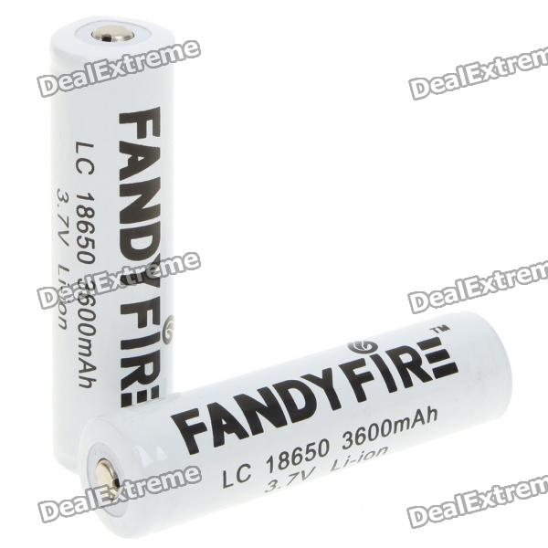 "Fandyfire LC 18650 Rechargeable 3.7V ""3600mAh"" Li-Ion Batteries - White (Pair)"