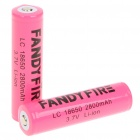 "Fandyfire Protected LC 18650 Rechargeable 3.7V ""2800mAh"" Li-Ion Batteries - Pink (Pair)"
